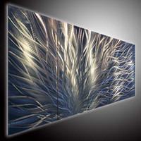 One Panel metal art - metal art MODERN ART ABSTRTACT ART WALL OIL PAINTING ON CANVAS ON METAL V METAL LINE