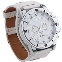 Wholesale Luxury White Wide Leather Strap Quartz Men Ladies Sport Analog Wrist Watch Large Dial