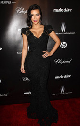 Wholesale Kim Kardashian Golden Globe Awards Cap Sleeves V Neck Lace Mermaid Celebrity Dress EWL220