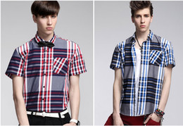 Wholesale Boy s Cotton Colorful Checkered Plaids Short Sleeve Shirt for Men Button Down