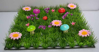 Wholesale Fairy door supplies Artificial grass mat boxwood mat with colorful mushrooms wedding christmas decoration table runner