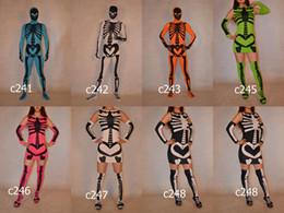 Wholesale Halloween Skeleton Skull Full Body Lycra Spandex Zentai Suit Costume Body Suit Fancy Dress