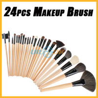 Wholesale 24pcs Professional Wooden Handle Makeup Brush tool Cosmetic Brushes kit Roll Up Case