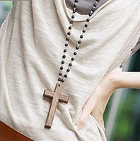 Wholesale Black Rosary Beaded STYLE Wooden Cross Pendant Necklace E4114