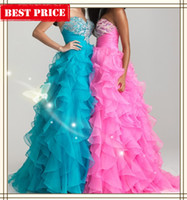 Reference Images Sweetheart Organza Custom Pink Blue Yellow Sweetheart Ruffles Beads Sequins Long Prom Dresses 2013 Teen Party Dress