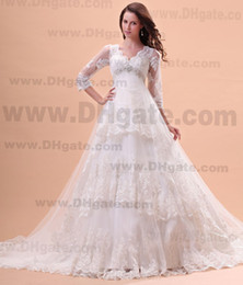 Wholesale Ivory Empire Court Train V neck Lace Sequins Eblow Sleeves Spring Autum Church Weddingdresses Hot