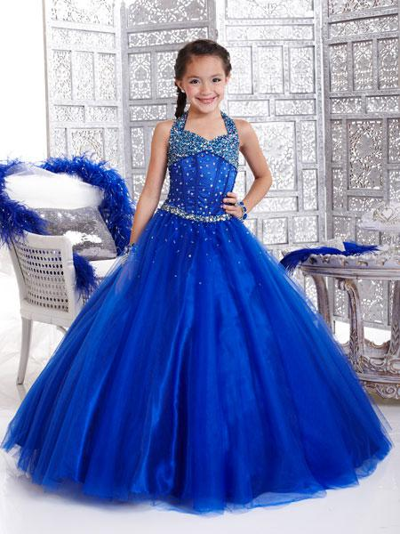Custom Made Hot Sale Royal Blue Children's Pageant Dress Halter A ...