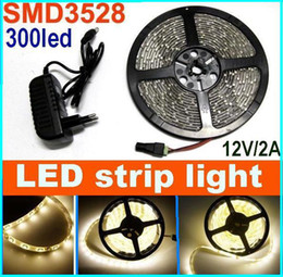 100m 3528 SMD Flexible Waterproof LED Strip Light warm White 300led light 5m 60led m + power adapter