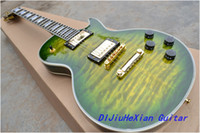 Solid Body guitar parts - New Arrival Green wavy top custom Gold parts OEM Electric Guitar