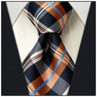 Wholesale Checked Navy Blue Orange White Mens Necktie Ties Silk Jacquard Woven
