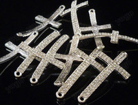 sideways cross charm - 20PCS Fashion Silver Sideways Rows Rhinestone Cross Bracelet Connectors Charms Findings SC1206
