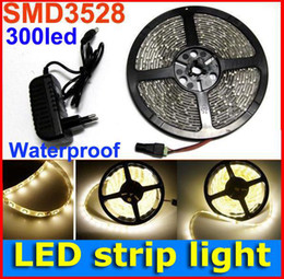 5M 60leds m SMD 3528 Flexible LED Strip Light Waterproof 300 LED rope light Warm White with 12V 2A Power Adapter FREE shipping