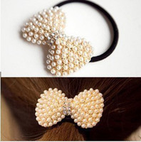 Wholesale Hot Hair Pony Holder Tails Band White Pearl Crystal Tail Band Lovely Bow Shaped Rubber Band Gold