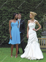 Wholesale 2013 Popular One Strap A Line Knee Length Chiffon Sky Blue Wedding Bridesmaid Dresses Country Style