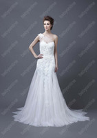 Wholesale 2013 Sexy Babyonline Bridal Gown One Shoulder White Mermaid Lace Satin Beach Heli Wedding Dresses