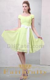 Wholesale Purity Lime Green A Line Chiffon Bridesmaid Dress Bateau Knee Length Short Sleeve Bow Sash Ruffle
