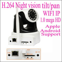 Wholesale 1 mega pixels HD wifi wireless ip network camera H with IR cut SD card slot Apple Android Wind