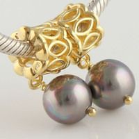 Wholesale Gold Beads Jewelry Pearl Charms K Plated Silver925 Sexy Whlesale Fashion Bracelet bead Charm GP078