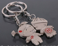 Wholesale zinc alloy lover keychain wedding souvenir keychain lover keyrings promotion gifts