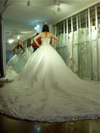 Wholesale 2013 New Strapless Beaded Crystals Applique Lace Luxury Cathedral Train Wedding Dresses Bridal Gowns