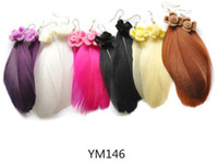 Wholesale Fashion multicolor feather flower earring high quality lady s jewelry cheap