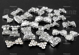 Wholesale 50 D Silver Alloy Bow Tie Bowtie Rhinestones Nail Art Glitters DIY Decorations tx242
