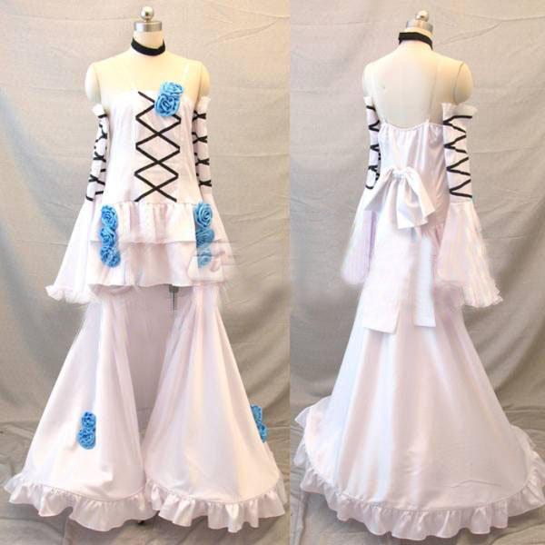 Pandora Hearts Alice White Dress Blue Cosplay Costume Made Halloween Anime Cosplay Female