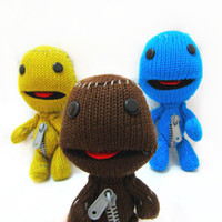 Wholesale 7INCH Little Big Planet Sock Monkey Stuffed Plush Doll Toys Yellow Brown Blue