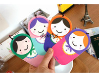 Wholesale New cartoon russian girl doll PVC Luggage tag travel tag label