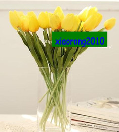 Wholesale YELLOW cm PU Latex Real Touch Artificial Simulation Tulip Flower Wedding Bridal s Bouquets