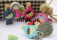Wholesale Freeshipping New lovely girl Wooden Clip Bag Paper Clip Special Gift Fashion