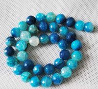 Wholesale Sleek blue color agate carved surface of mm beads jewelry accessories