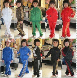 Wholesale 2014 HOT SALE Boys and Girls Track Suit Spring and Autumn Suits Children Sport Suit Coat Pant Fashion Uniforms