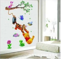 Wholesale Popular Cartoon Winnie Bear and Tigger Wall Sticker Home Decor Room Decor Kids H0059