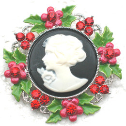 Wholesale C853 CRYSTAL RHINESTONE ENAMELING FLOWER BROOCHES GIFT PORTRAIT CAMEO PIN BROOCH & PENDANT