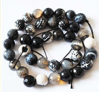 Wholesale Black agate carved surface of mm beads Diy jewelry accessories