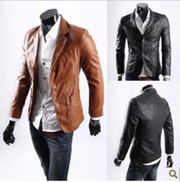 men long coat jacket - New Men Jacket Casaul Slim PU Leather L XXXXL Waterproof Coats Long Sleeve Yellow Brown Black Fashion Hot Selling
