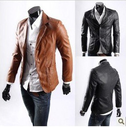 Wholesale New Men Jacket Casaul Slim PU Leather L XXXXL Waterproof Coats Long Sleeve Yellow Brown Black Fashion Hot Selling