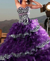 New 2013 Purple Zebra Prom Dress Ball Gown Quinceanera Dress...