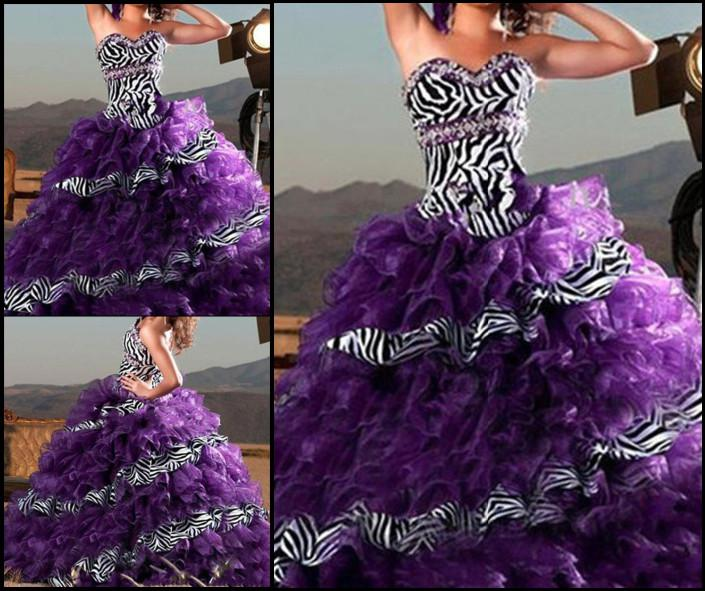 Purple/Zebra Sweetheart Ball Gown Quinceanera Dresses Prom Evening ...