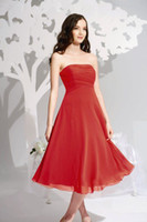 Wholesale Strapless Chiffon A line Tea length Bridesmaid Dress B2 by Jasmine B2089 D20