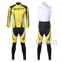 Wholesale Hot on sale SCOTT yellow clothing Cycling Wear Bicycle Long Sleeve Jersey bib pants