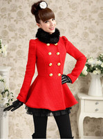 Cheap Hot Sell!!! New Color Red Black Fur Collar Double-Breasted Thick Woolen Overcoat Coats Mixed Order