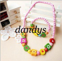 Wholesale Freeshipping New Baby Kids Girls Wood Necklace amp Bracelet Set handmade Jewelry Set Fashion Who