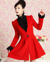 Women Cotton Couple Fashion coats Large dolls 2012 autumn and winter red skirt puff sleeve slim V-neck wool overcoat