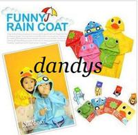Wholesale Freeshipping New Fashion Cartoon Cute Baby Children s Kids Cartoon Animal Raincoat Childr