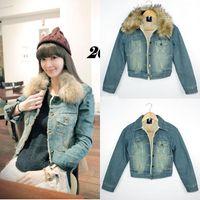 blue jean jacket - New hot Winter Vintage Luxury Rhinestone Woman Jean Jacket O Neck Blue Denim Outwear