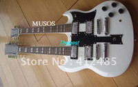 6 Strings double neck guitar - SG Double Neck Electric Guitar double neck electric guitar in white color with c