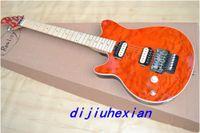 left hand electric guitar - 2013 New Arrival orange wavy top left hand OEM Electric Guitar high quality