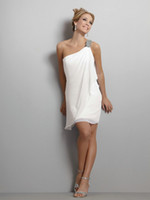 Best Selling Sexy One- shoulder White Chiffon Short Cocktail ...